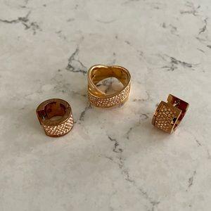 Matching rose gold ring/ earrings